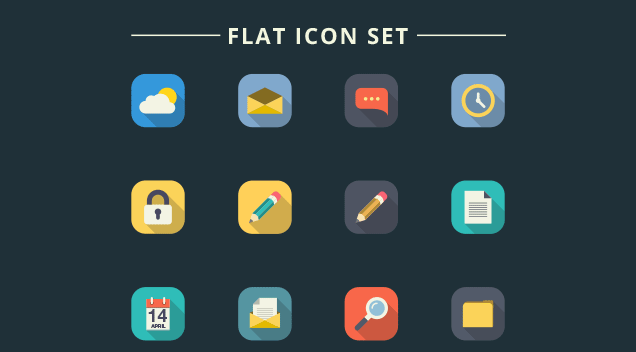 Long Shadow Love: Free Flat Icon Set
