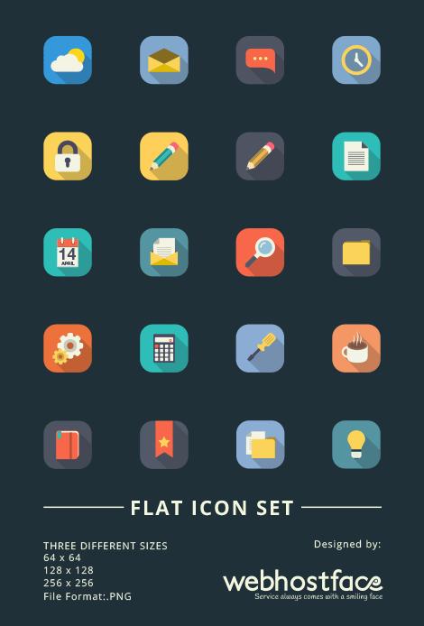Long Shadow Flat Design Icon Set