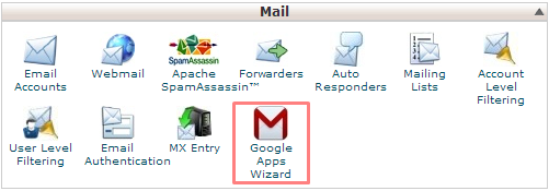 Google Apps Wizard cPanel