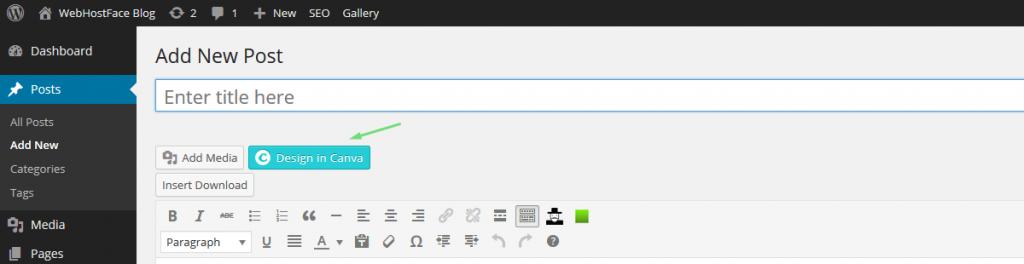 Canva design button in WordPress