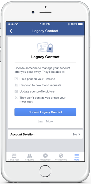 Choose your Facebook Legacy Contact