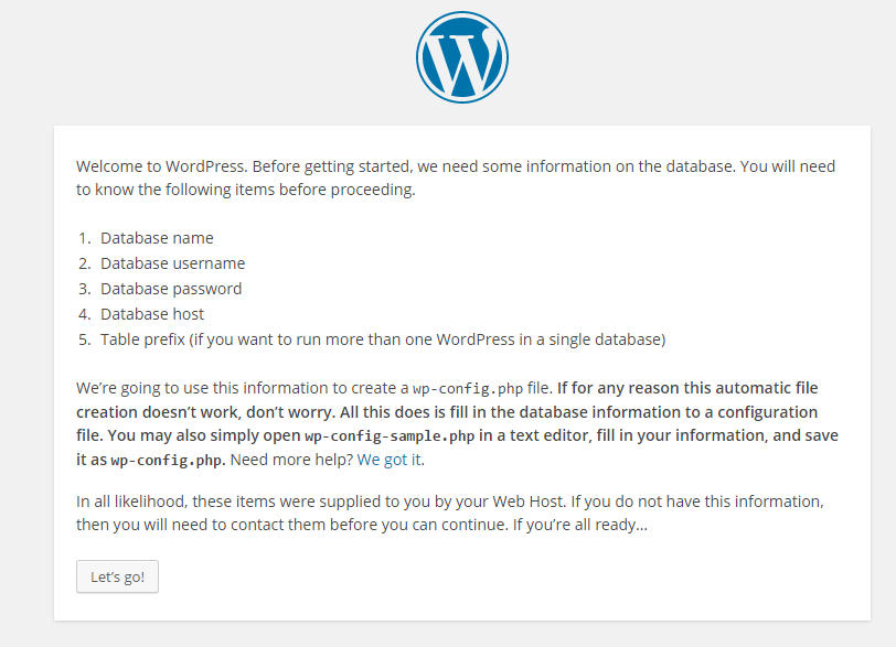 WordPress installation information