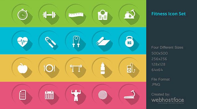 Shape yourself with our free health and fitness icons pack
