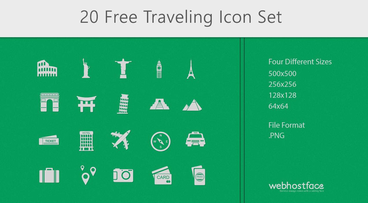 Travel the World this Summer with our Free Travel Icon Set