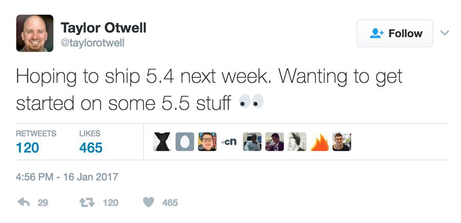 laravel 5.4 release top 5 php frameworks