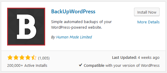 BackUpWordPress backup plugins stats