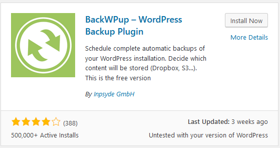 BackWPup backup plugin stats
