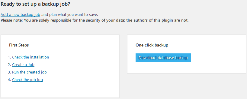 Download database backup with 1 click with BackWPup