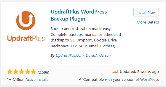 Updraft Plus backup plugin