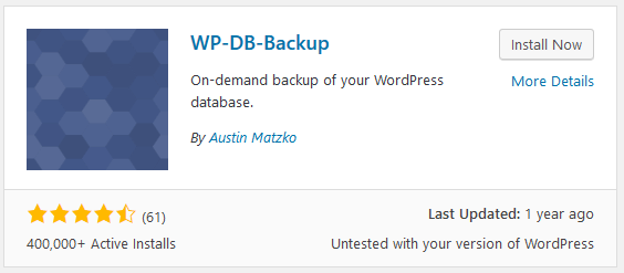 WP DB Backup WordPress stats