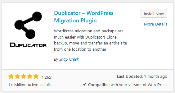 The Duplicator WordPress Backup Plugin stats