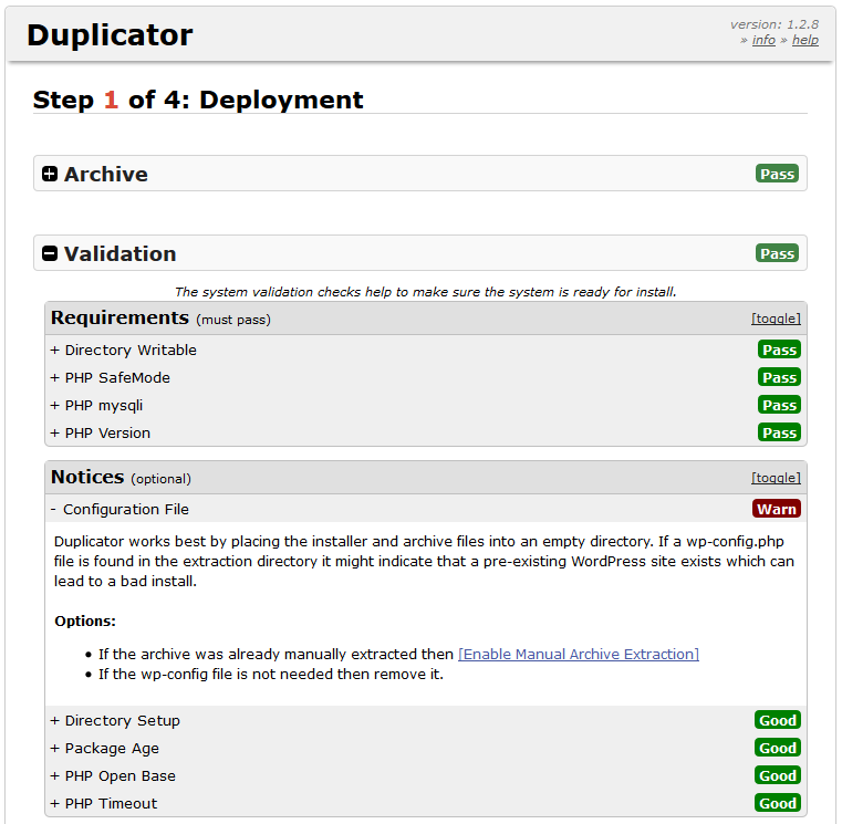 Duplicator backup plugin wp-config.php error