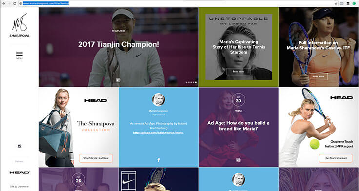 Maria Sharapova Website