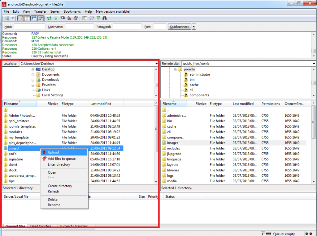 How to upload files using FileZilla?
