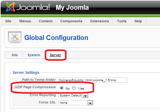 How to enable gZip compression in my Joomla 1 5 and Joomla 2 5?