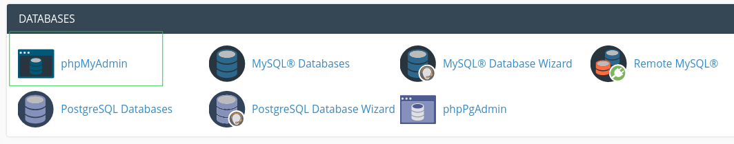 cPanel databases