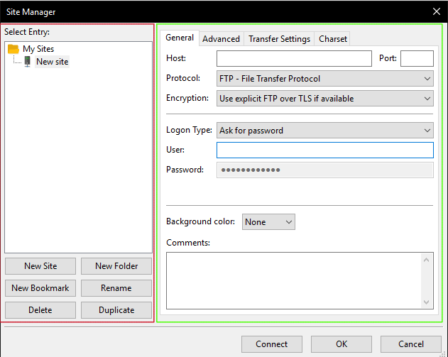 Use Site Manager to connect to FTP with FileZilla on Windows