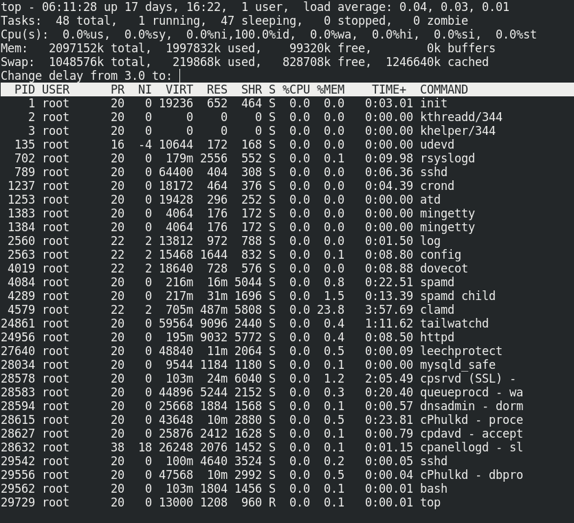 Linux SSH top command for root