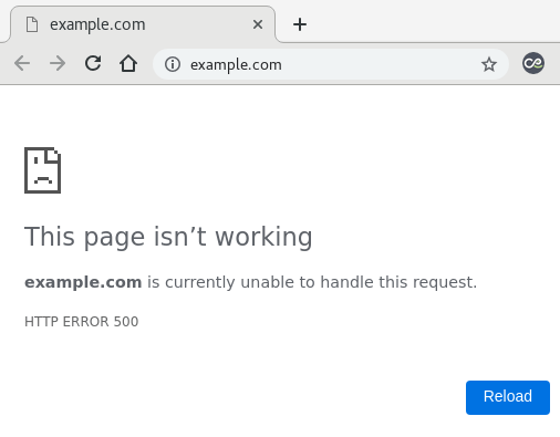 A screenshot of Error 500 on Chrome