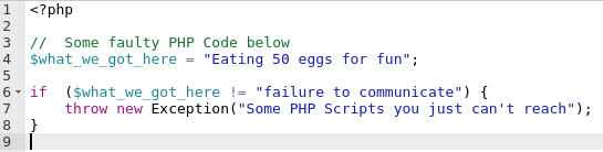 A screenshot of a faulty PHP code