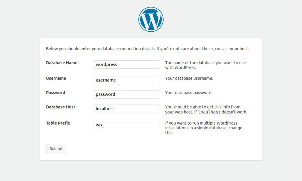 WordPress installation - database details