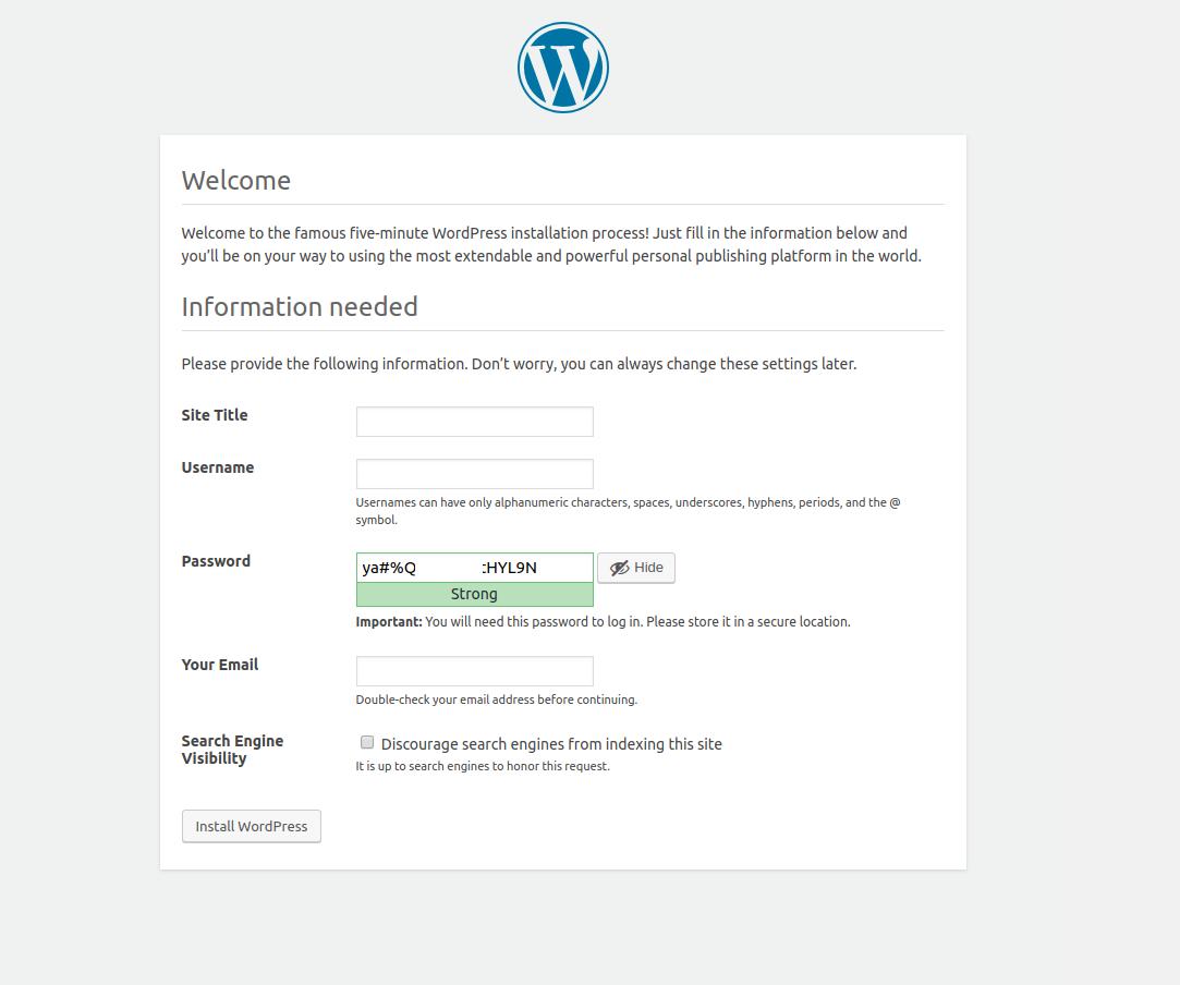 WordpPress Installation - Set password