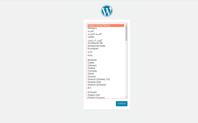 WordPress Installation - languages